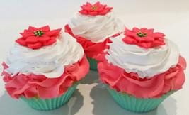 Poinsettia Cupcakes Fake Cupcakes Set of 3-Decoration Prop Staging  Dezicakes - $16.82
