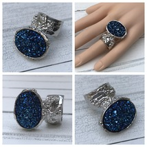 Druzy Style Arty Statement Ring Blue Ice Silver SZ 10 Women Knuckle Art ... - $22.99