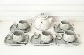 Vintage Maruhon Ware Japanese Style Grey Porcelain Coffee / Tea Set For ... - $54.45