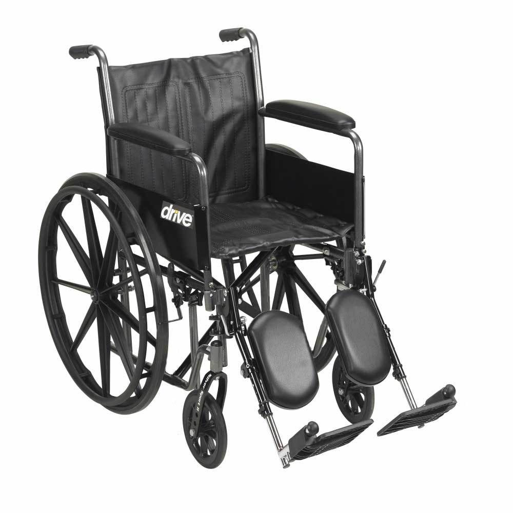 Drive Medical Silver Sport 2 With Full Arms and Leg Rests 16''