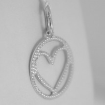 18K WHITE GOLD HEART PENDANT CHARM 22 MM FINELY WORKED, BRIGHT, MADE IN ITALY image 2