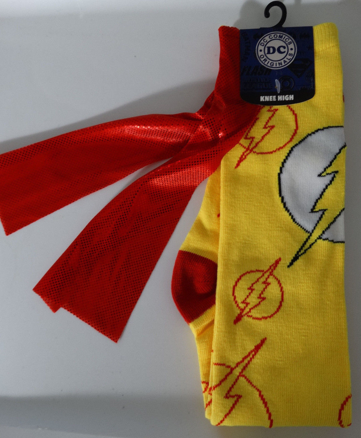 The Flash Allover Logo Dc Comics Cape Knee High Socks