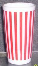 HAZEL ATLAS GLASS-- PLATONITE RED STRIPES TALL TUMBLER - $10.95