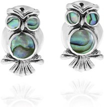 Spirit Of Wisdom Owl Abalone Shell Inlay .925 Sterling Silver Stud Earrings - $78.70