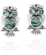 Spirit Of Wisdom Owl Abalone Shell Inlay .925 Sterling Silver Stud Earrings - £64.34 GBP