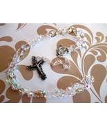 Clear Aurora Borealis Beaded Rosary - $16.00