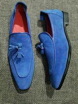Handmade Men's Blue Slip Ons Tassel Dress/Formal Loafer Suede Shoes image 1