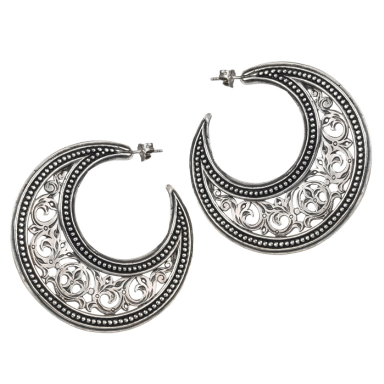 Primary image for Gerochristo 1164 - Sterling Silver Medieval Byzantine Crescent Earrings - L