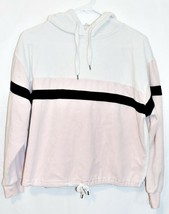 Forever 21 Women's White Pink Striped Hooded Hoodie Chenille Sweatshirt Size S