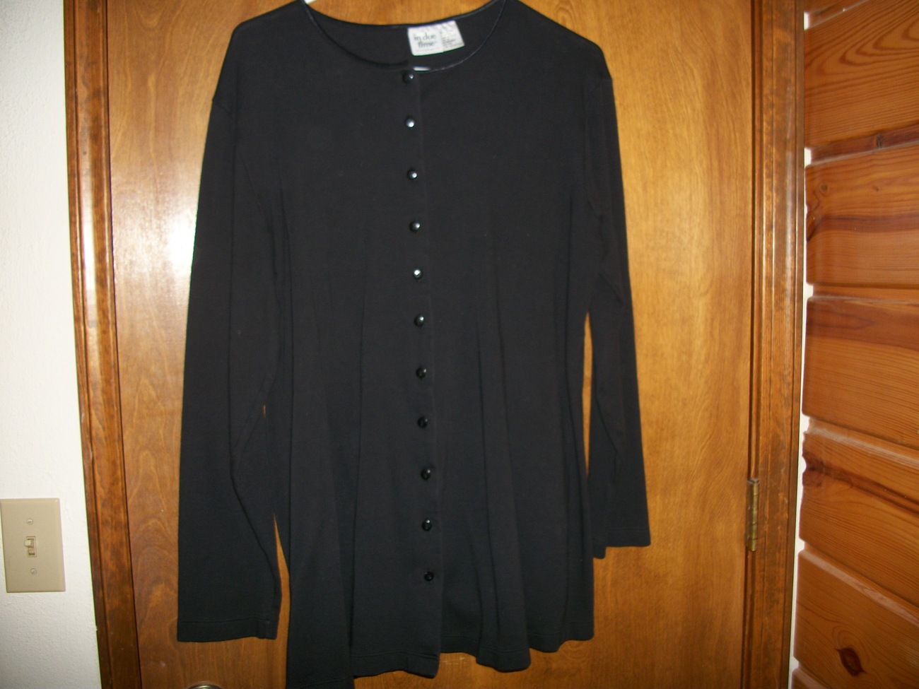 In Due Time Black Maternity Cotton Button Top/Cardigan Bonanza