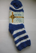 Socks, Ladies Butter Soft Blue & White Striped, Size 9-11, By Gold Medal... - $5.99