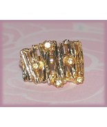 Vintage Ring Bamboo-look Fashion Costume Gold Tone Size 7 US - $9.99