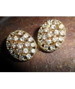 Gold tone and Rhinestone Clip on Earrings - $8.00