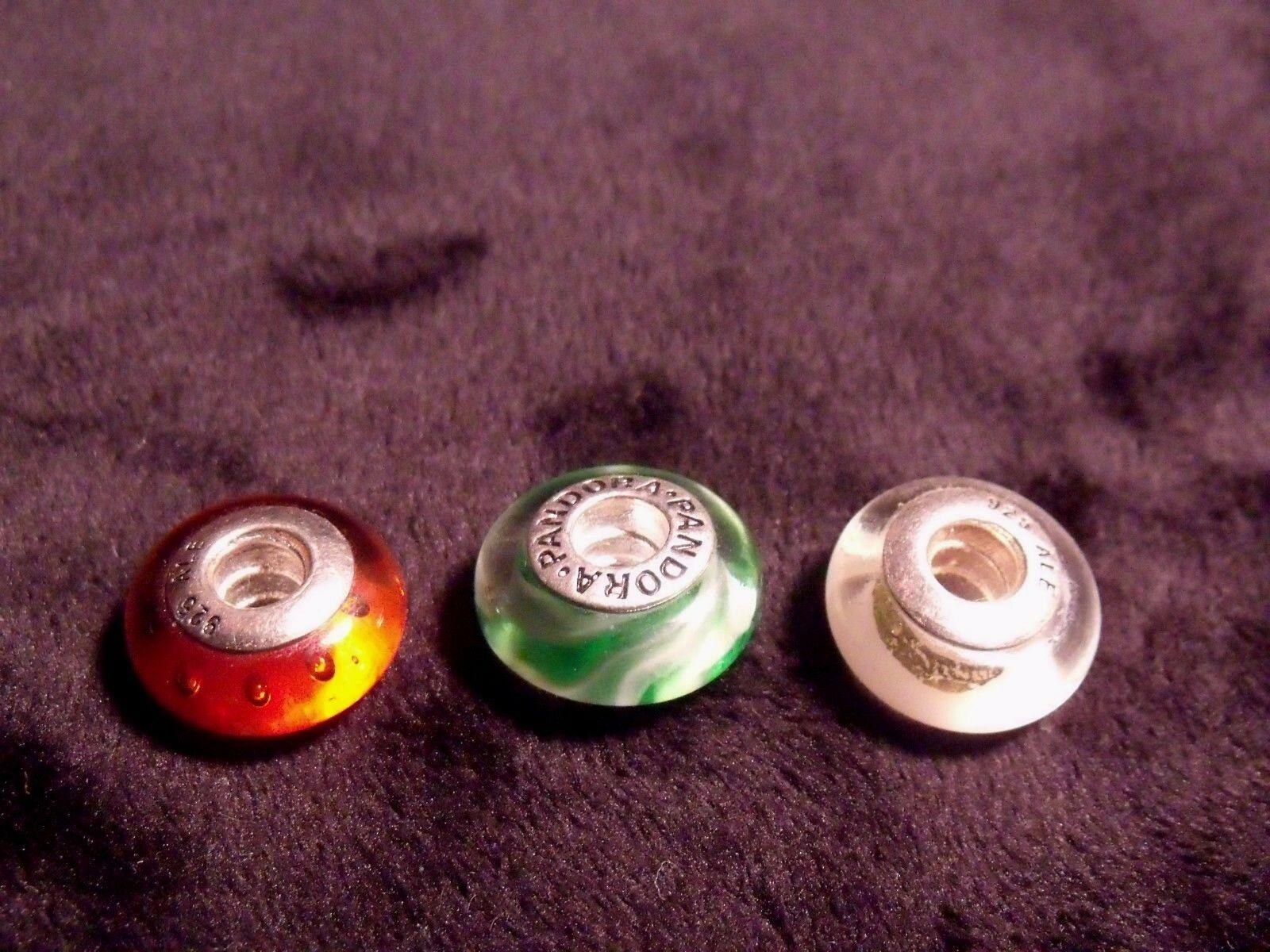 (3) VINTAGE PANDORA ALE STERLING GLASS BEAD BRACELET CHARMS