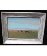 Old Archie A Gilhousen Ca California Western Art Range Cattle Drive Oil ... - $250.00