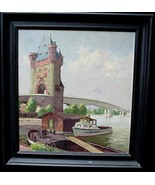 Old Nibelung Tower Worms Germany Oil Painting F. Deibel - $150.00