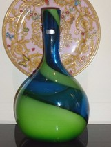 "Waterford 14"" Crystal Studio Evolution Art Glass Blue & Green Contemporary Vase - $220.00"