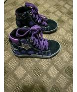 GEOX RESPIRA GIRLS Black With Purple Leather Glitter Stars Fabric Sneake... - $23.33