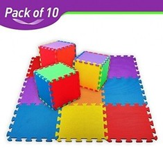 10-tile Multi-Color Exercise Mat Baby Play Mat Foam Floor Puzzle Safe Fo... - $8.99