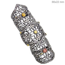 Armor Knuckle Ring Size 7 14k Gold 925 Silver 3.3 Ct Natural Slice Diamo... - €950,25 EUR