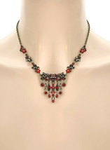 Vintage Victorian Inspired Dainty Siam Red Antique Gold Tone Necklace Earrings - $12.35
