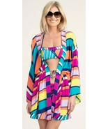 Trina Turk Catch A Wave Tie Front Kimono Swimsuit Cover Up Dress Robe M ... - $107.99
