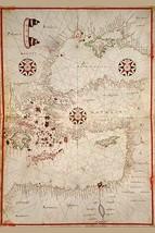 Portolan Map of Turkey, Mediterranean, Adriatic and the Agean by Joan Oliva - Ar - $19.99+