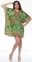 Digital Decorative Flower Short Kaftan~Beach Top~Free Size Hippy Caftan Dress - $8.59
