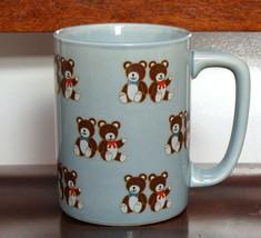 Vintage Otagiri Japan Teddy Bear Coffee Mug Tea Cup Brown Bears Blue Gray - $8.90