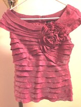 Adrianna Papell Evening Essentials Salloped Top Blouse Sz 4 Shimmery PINK/ROSE - $44.54