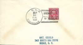 "CONCORD (CL-10) 10 Sep 1934 Locy Type 3s (B-BTT) ""Bremerton WA"" in Kille... - $3.47"