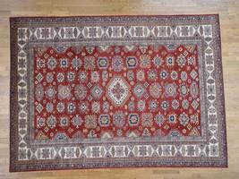 "9'x12'4"" HandKnotted Pure Wool Red Super Kazak Geometric Design Rug G40366 - $3,651.90"