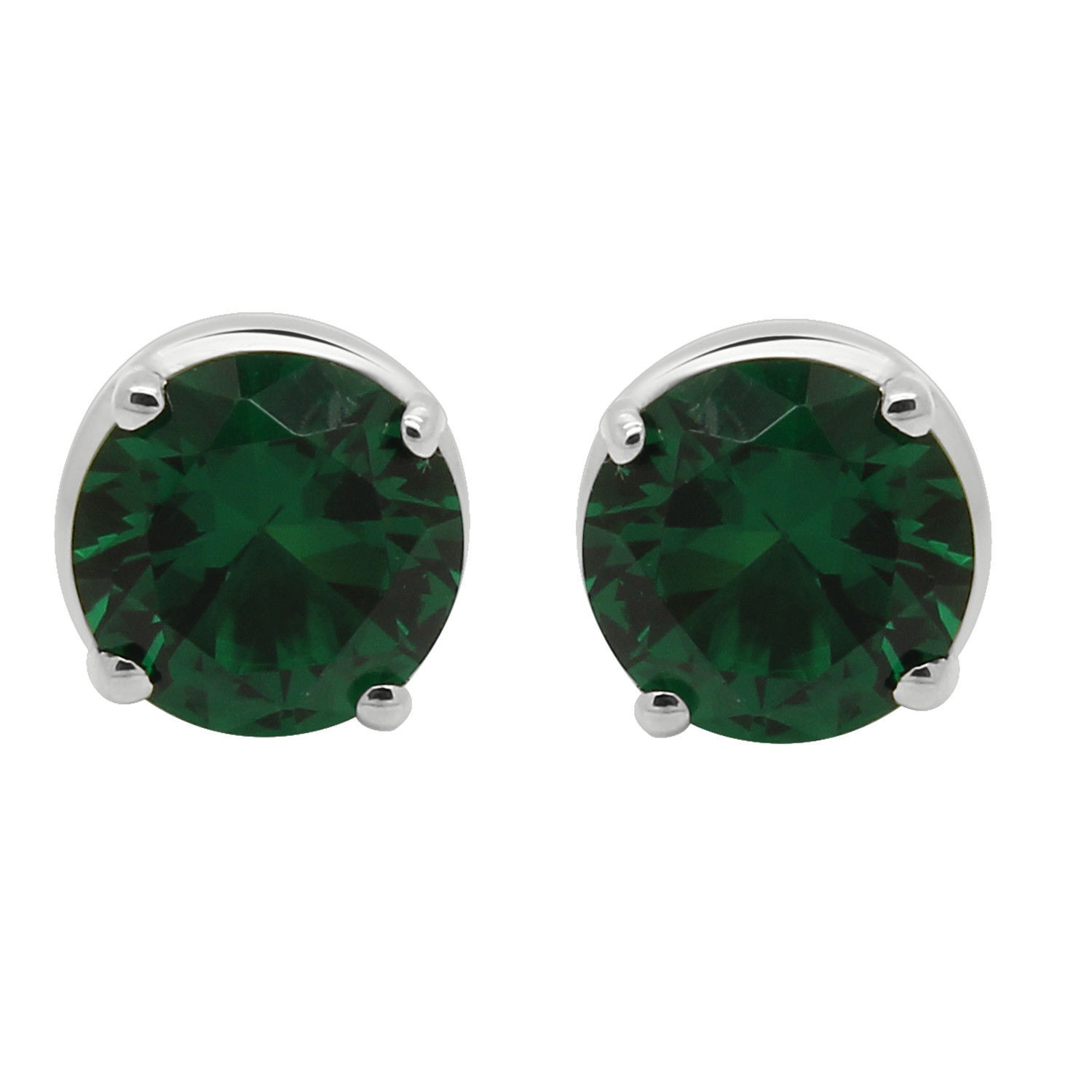 10K White Gold Round Simulated Green Emerald Solitaire Stud Earrings (2.00 Ct)