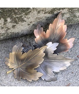 Fall Leaves Pin K&T Tri Colored Metal Maple Leaves Pin Brooch - $16.00