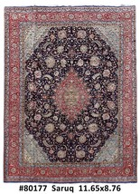 Durable Wool Hand Knotted Rug 9x12 Persian Sarouk - $1,327.60