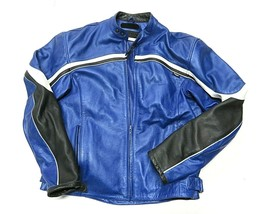 VTG TRIUMPH Motorcycles Blue Padded Motorcycle Zip Up Jacket Adult Size ... - $494.95