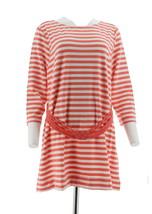 Liz Claiborne NY Striped Tunic Knotted Waist Belt Flamingo Pink XL NEW A261243 - $26.71