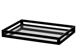 "BLACK LACQUER TRAY, Mirror Bottom, GLOSSY, 14.5"" W x 21"" D, Entertain or... - $3.822,37 MXN"
