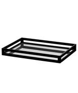 "BLACK LACQUER TRAY, Mirror Bottom, GLOSSY, 14.5"" W x 21"" D, Entertain or... - $253.96 CAD"