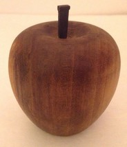Vintage Turned Wood Apple Solid Rustic Decor Iron Stem Dark Brown Handcr... - $16.68