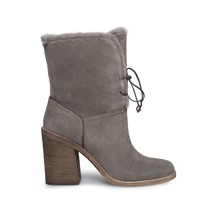 UGG JERENE MOUSE SUEDE SHEEPSKIN STACKED HEEL WOMENS BOOTS SIZE US 8.5/U... - £91.23 GBP