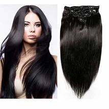 Friskylov 18 Inch Black Hair Extensions Clip in Human Hair 120g Brazilian Virgin