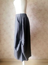 Women Loose Cozy Linen Skirt Gray Ankle Length Skirts Summer Asymmetric Skirts image 4