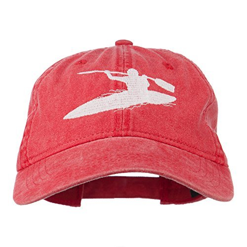 Sports Kayak Embroidered Washed Dyed Cap - Red OSFM