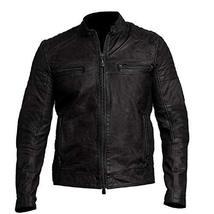 Vintage Cafe Racer Mens Biker Black Leather Jacket image 1