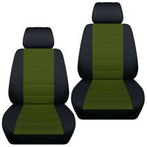 Front set car seat covers fits Jeep Cherokee 2014-2020    black and hunter green - $72.99