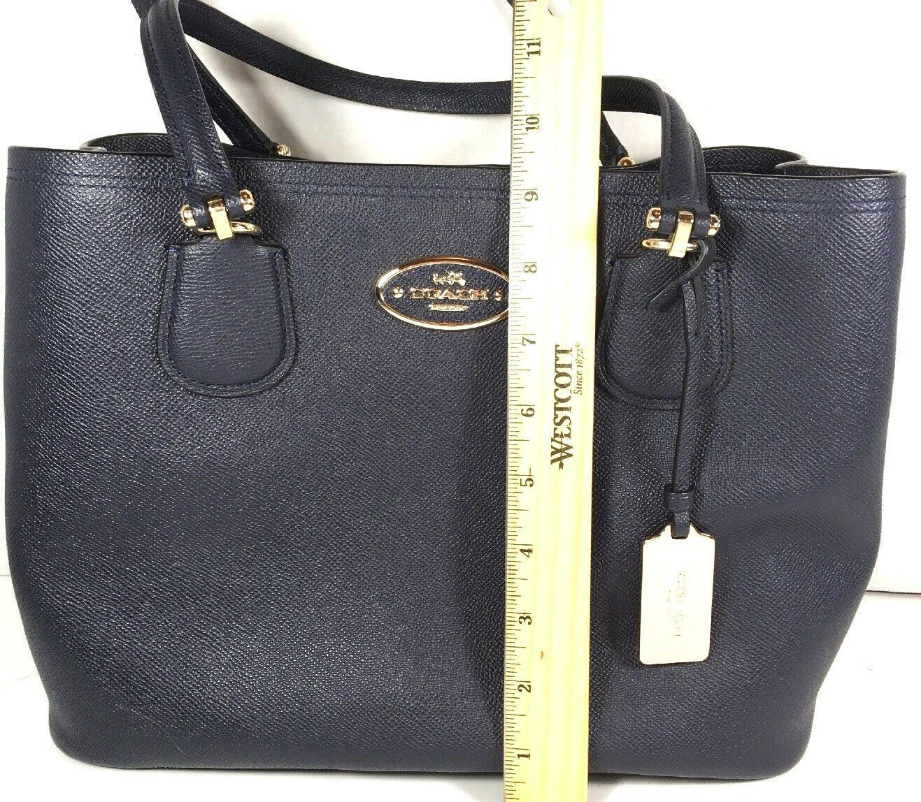 Coach Kitt Carryall Tote Navy Blue Crossgrain Leather Gold Tone HW with Dustbag image 6