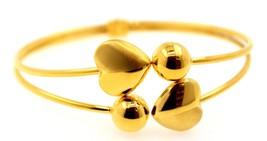 HEART BALL PATTERN 20K YELLOW GOLD LADIES GIRLS BANGLE BRACELET PICK CUS... - $1,201.96+