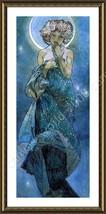 FRAMED Poster Moon Alphonse Mucha Framed Paints Oil Painting Print Giclee - $68.50+