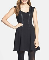 Jessica Simpson Dress Sz 6 Black Faux Leather Ponte Fit & Flare Career Cocktail - $63.82